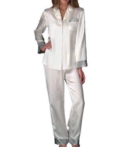 Julianna Rae Women's 100% Silk Pajama, Classic Fit, Evening Lounge, Alabaster, Petite, M by Julianna Rae (Image #6)