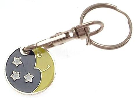 Llavero con moneda para carrito de la compra, diseño luna y estrella.: Amazon.es: Hogar