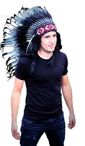 The World of Feathers N74- Medium Grey Headdress, Native American Style Warbonnet -