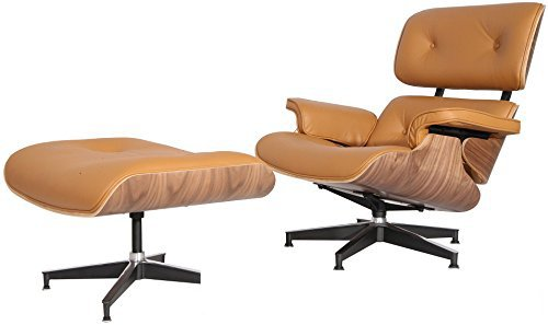 eMod – Mid Century Plywood Eames Lounge Chair & Ottoman Reproduction Aniline Leather (Terracotta Walnut)