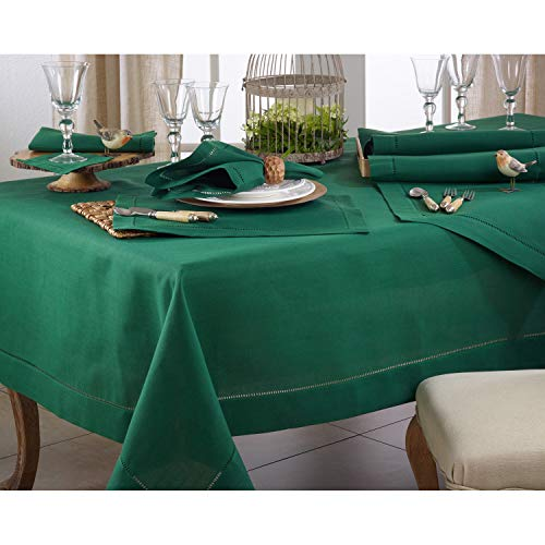 - Jasper Green 100% Polyester Tablecloth with Hemstitched Border, 70