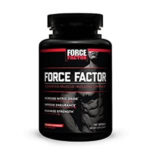 Force Factor Pre-Workout Nitric Oxide Booster, Build Sheer Muscle and Strength, Improve Pumps and Recovery, Maximize Power, Force Factor, 120 Count
