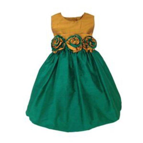 Girls Silk Bubble Dress With Gold Top And Emerald Green Skirt With Flowers (Silk Bubble Dress)