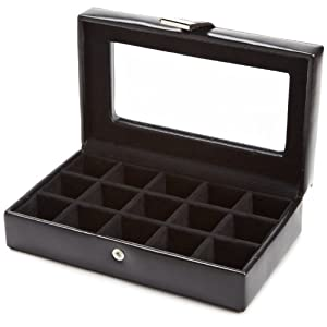 WOLF 290102 Heritage 15 Piece Cufflink Box with Glass, Black