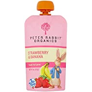 Peter Rabbit Organics Strawberry and Banana 100% Pure Fruit Snack, 4 Ounce Squeeze Pouch (Pack of 10)