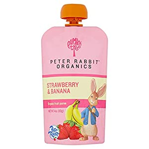 Peter Rabbit Organics Strawberry and Banana 100% Pure Fruit Snack, 4 Ounces Squeeze Pouch, (Pack of 10)