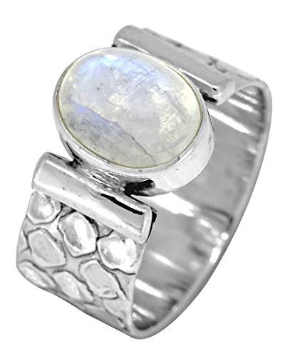 YoTreasure 925 Sterling Silver Oval Rainbow Moonstone Ring Jewelry