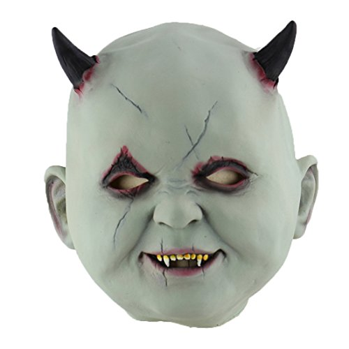 Hophen Creepy Scary Halloween Cosplay Costume Mask for Adults Party Decoration Props (Horn Baby) -