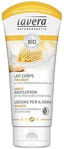 Lavera Loción Corporal Suave con Leche de Almendra Orgánica & miele bio - cosméticos naturales 100% certificados - cuidado de la piel - 4 Recipientes de 200 ml
