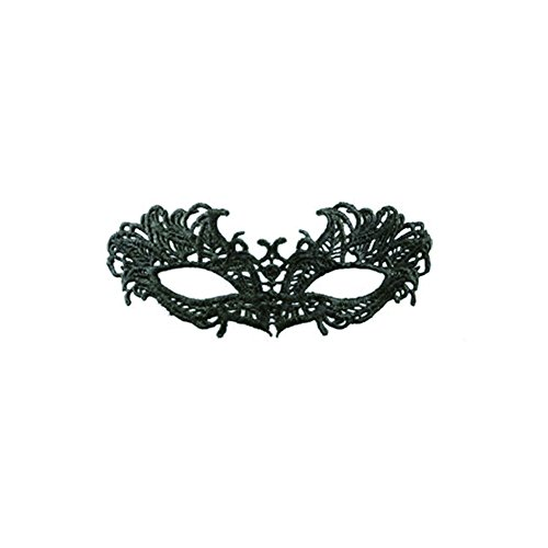 Hollowed Costumes (Halloween Women Sexy Lace Pattern Eyemask Masquerade Party Black Hollowed out props mask (7))