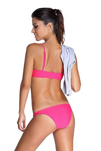 New rosa Bandeau 2PCS Tankini set bikini Swimwear estivo costume da bagno misure UK 8EU 36