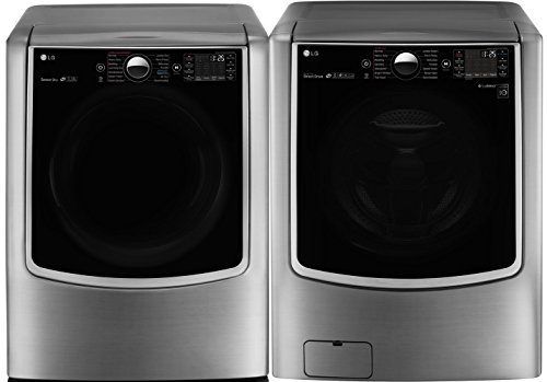 LG TwinWash Graphite Steel Front Load Laundry Pair with WM9000HVA 29' Washer with and DLGX9001V 29'...
