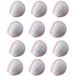 Mini Sports Balls for Kids Party Favor Toy, Soccer Ball, Basketball, Football, Baseball (12 Pack) Squeeze Foam for Stress, Anxiety Relief, Relaxation. (12 Pack (Baseballs))