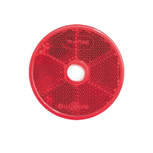 selbstklebend Reflektor R/ückstrahler rot 80 mm Katzenauge mit Befestigungsloch
