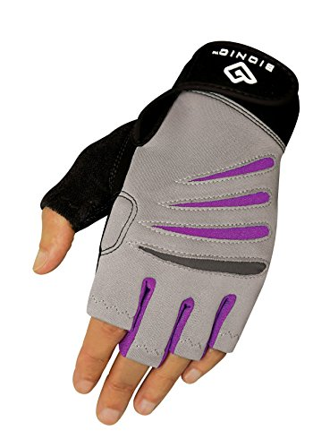 (Bionic Women's Cross-Training Fingerless Gloves, Gray/Purple, Medium)
