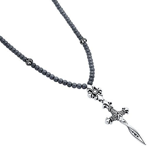 Matte Simulated Hematite Twisted Blade Beads With Twisted Dagger Necklace (Matte Dagger)