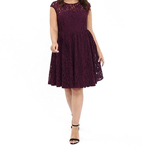 OZEA LADY Women's Illusion Floral Lace Plus Size Cocktail Dress(1) by OZEA LADY