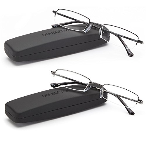 DOUBLETAKE Reading Glasses - 2 Pairs Compact Case Semi Rimless Readers - 2.50