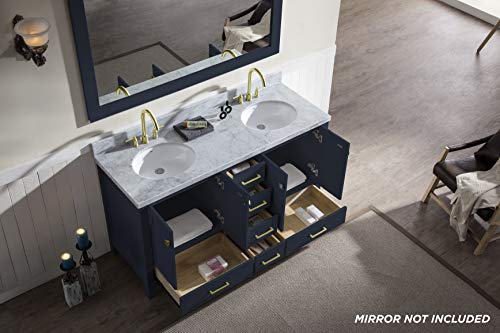 """ARIEL Cambridge A061D-VO-MNB 61"""" Inch Bathroom Vanity Cabinet in Midnight Blue with Carrara White Marble Countertop Round Oval Sinks - ✅ CONSTRUCTION: Experience the luxury of having the well-crafted cabinetry that will make you undergo a refreshing experience like never before. ARIEL brings to you the finest bathroom vanities that will not just add value to your bathroom décor but also make the access to toiletries much easier ✅ DESIGN: Double sink vanity with 4 soft-closing doors with adjustable hinges and 6 full-extension self-closing drawers with under-mount drawer glides for added stability to meet all your storage needs. Your energizing splashes with the water will not deteriorate the supreme Solid hardwood plywood construction ✅ FEATURES: Carrara White Marble countertop with 1.5"""" edge and matching backsplash. Painted with midnight blue to complement your contemporary bathroom space. 2 UPC certified oval ceramic under-mount sink and satin brass finish hardware included - bathroom-vanities, bathroom-fixtures-hardware, bathroom - 41JIIYHbzPL -"""