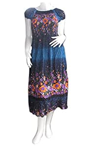 """HELLTHAILAND"""""""" FINE COTTON RAYON Women Thai Boho Flowing Gathered / Smocked dress was wrinkled blouse / skirt - multicolour FREE SIZE (CROSS ARMPIT TO ARMPIT 14"""""""" ADJUSTABLE TO 19"""""""" WAIST 27 - 39"""""""" ADJUSTABLE LENGHT FROM SHOULDER 56"""""""") BEAUTIFUL BRIGHT AND FRESH FLOWERS"""