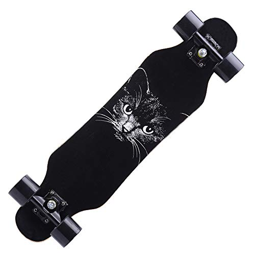 Skateboard Deck Bendable Deck and Smooth PU Casters Suitable Complete Skateboards with Skate Tool Set for Kids Boys Girls Youths Beginners,Black