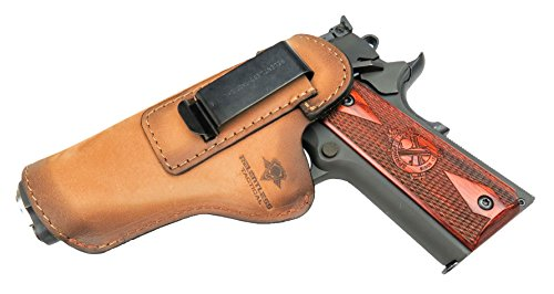 Relentless Tactical The Defender Leather IWB Holster - Fits Most 1911 Style Handguns - Kimber - Colt - S & W - Sig Sauer - Remington - Ruger & More - Made in USA - Charred Oak Left Handed