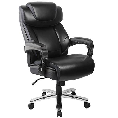 BSD National Supplies Grove Big & Tall Black Leather Executive Adjustable Swivel Office Chair with Height Adjustable Headrest and Padded Chrome Arms