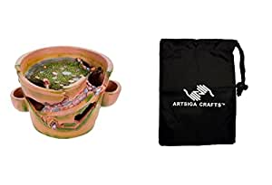 Darice Fairy Garden Miniatures House Planter Pot w/ Stair Resin 14.25in. 1Pc (2 Pack) 30005328 bundled with 1 Artsiga Crafts Small Bag