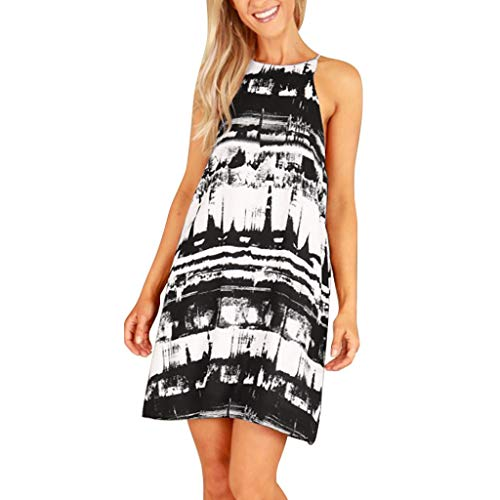Loosebee Womens Summer Beach Halter Neck Dress Ladies Holiday Floral Sun Tank Dresses Black