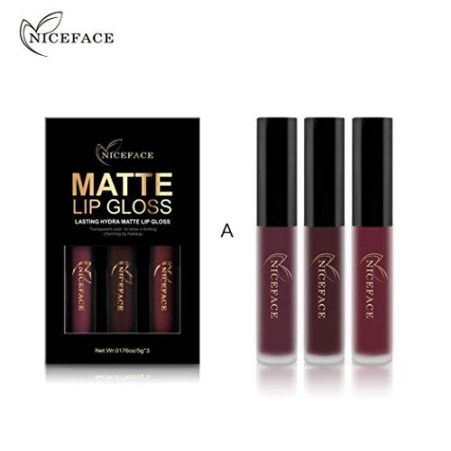 3PCS/Set New Fashion Waterproof Matte Liquid Lipstick Cosmetic Sexy Lip Gloss Kit WensLTD (A)