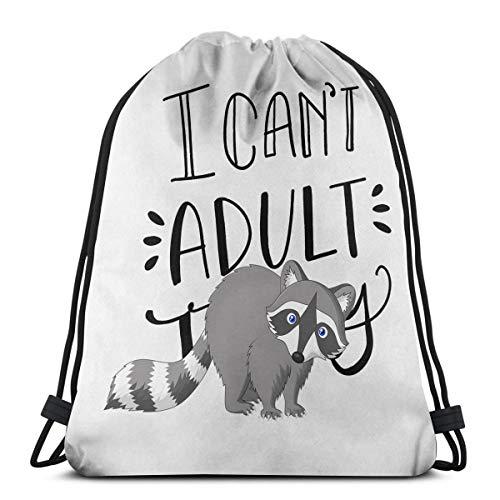 Wangchangjin Drawstring Bags Little Gray Raccoon Sport Gym Tennis Casual Daypack Backpacks Swimming Hiking Yoga Portable Travel for Women and Men ()