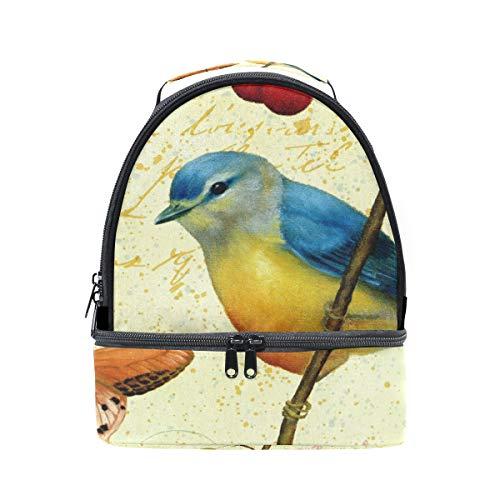 Alinlo vintage Printemps Papillon Oiseaux Boîte à lunch Sac isotherme Cooler Tote avec bandoulière réglable pour Pincnic à l'école