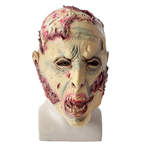 Halloween Zombie Mask Decaying Zombie Mask, Halloween Mask Scary, Natural Latex Suitable for Most Men and Women Halloween Full Head Horror Masks, Environmental Latex, Visibility & Breathability -