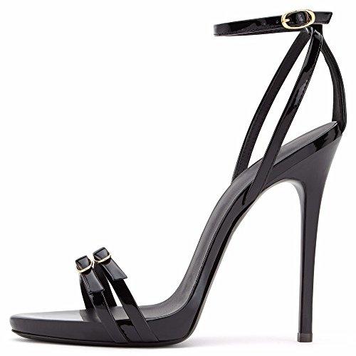 High F Large Size Sandals Heel Sandals Pigskin Heel Women's Black High Pt7wqrHt