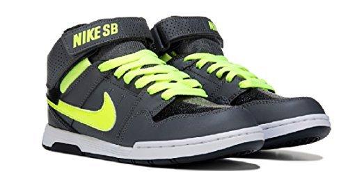 NIKE Boys' Mogan Mid 2 JR Skateboarding-Shoes, Dark Grey/Volt/Black/White, 1.5 M US Little Kid