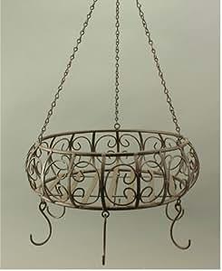 """Colgador de techo para plantas, forma de cesto """"redondo"""", de hierro, marrón envejecido"""