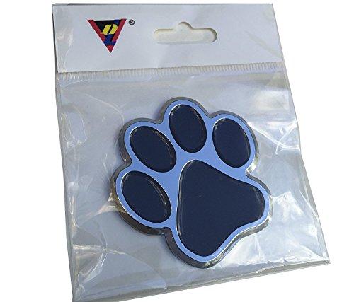 ClassyBumper Dog Paw Print Auto Emblem / 3D Chrome Bumper Sticker (Black)