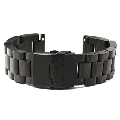 Over Double Clasp Locking Fold - YISUYA 22mm Solid Stainless Steel Band 2.2cm Width Wrist Watch Band Strap Double Locking Fold-over Clasp Mens Steel Straps Black