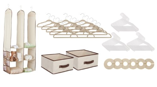 Delta 24 Piece Nursery Closet Organizer with Extra Baby Clothes Hangers, Beige/White