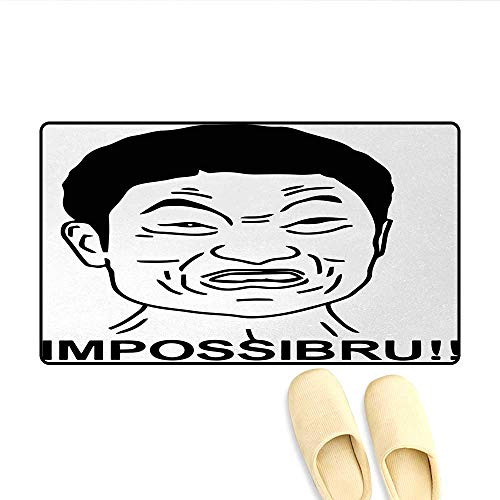 Door Mats,Funny Impossibru Quote with Angry Asian Guy Meme Sarcasm Web Chat Design Print,Bath Mat Bathroom Mat with Non Slip,Black and White,Size:32