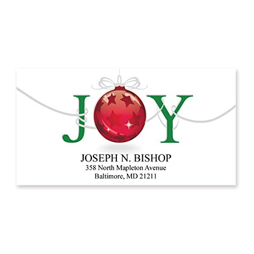 Artistic Address Labels - Christmas Joy Sheeted Holiday Address Labels - 48 Address Labels - 2 Inches High x 2 1/4 Inches Long