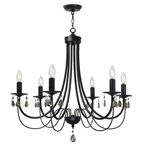 Lucidce Crystal Chandelier Lighting Modern Dining Room Lighting Fixtures Hanging Black 6 Lights Candle Island Pendant Lighting for Bed Room Living Room