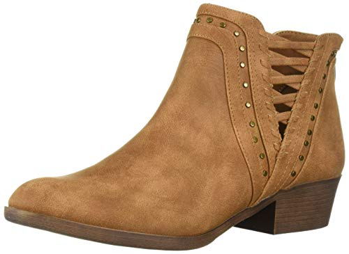 Sugar Women's Threaded Boho Ankle Woven and Stud Detail Bootie Boot, Cognac 8 M -