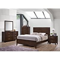 Kings Brand Furniture Cappuccino Finish Wood Queen Size Bedroom Set. Bed, Dresser, Mirror, Chest & 2 Night Stands