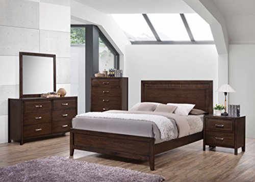 Kings Brand Furniture Cappuccino Finish Wood Queen Size Bedroom Set. Bed, Dresser, Mirror, Chest & 2 Night - Dresser Mirror Cappuccino