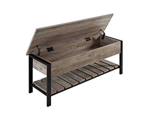 WE Furniture AZ48PCSBGW Open-Top Storage Bench, Gray Wash (Wood Bench Small Storage)