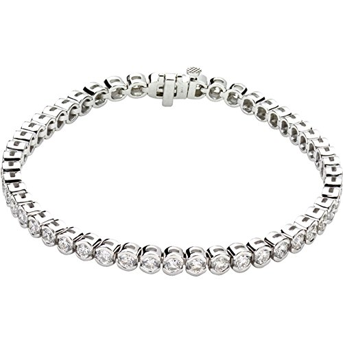 "14k White Gold 6.00 Ct Round Diamond (I1/G-H) 7.25"" Line Tennis Bracelet"