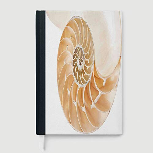 Paper Nautilus Shell - Sacred Geometrty Decor,Business Notepad Daolin Paper,Nautilus Shell Showing the Chambers in Distance Curves Helix Hidden Print,96 sheets/192 pages,B5/7.99x10.02 in