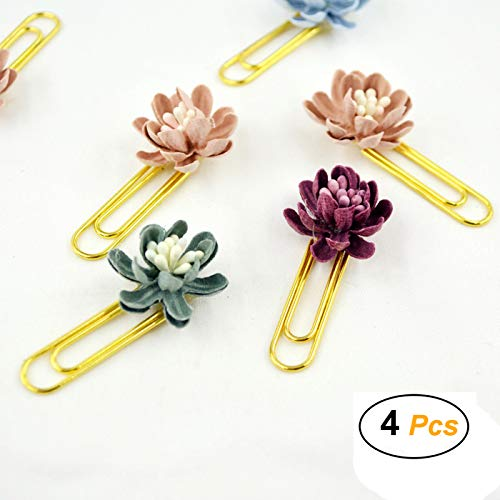 4 Pcs Gold Metal Paper Clips with Flowers Small Bookmarks Marking Clips for Books Photos Cards Stationery School Office Supplies