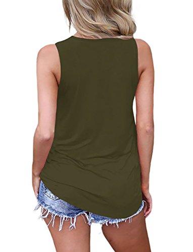 Camicie Cross a V Camicetta Verde Shirt Tee Maglietta Top Sciolto Top Casual Canotte Scollo Gilet Maniche T Senza Estive Cami Gyratedream Vest Tank Donna xw80HXqS